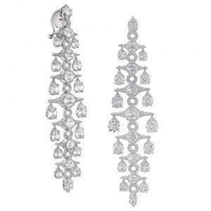 Old Mine Cut Diamond Chandelier Drop Earrings, 21.60 carats