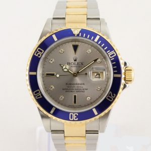 Rolex Submariner Date 16613 Serti Dial Steel and Gold, Box and Papers