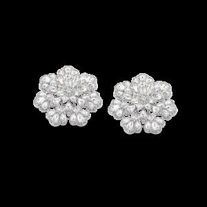 Rose Cut Diamond Floral Cluster Earrings, 4.29 carats