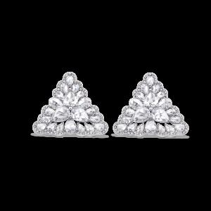 Rose Cut Diamond Triangular Petal Stud Earrings, 3.81 carats