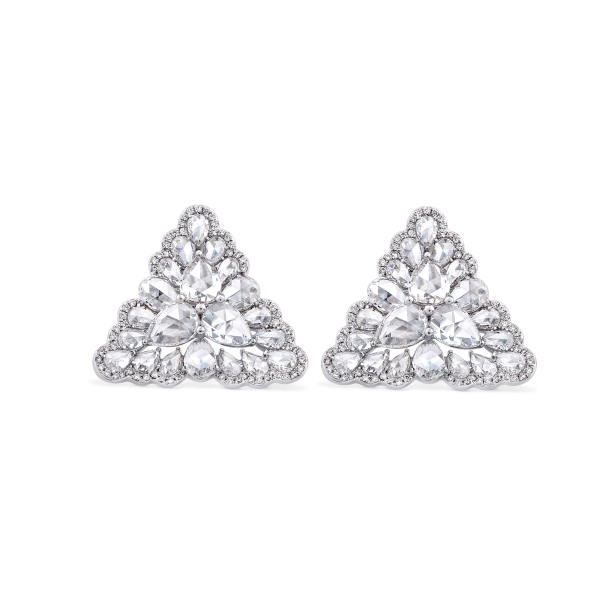 Rose Cut Diamond Triangular Petal Stud Earrings; set with 3.81 carats pear-shaped rose-cut diamonds accented by 150 micro-pave set round brilliant-cut diamonds, in 18ct white gold