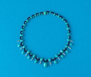 Vintage Turquoise, Diamond and Enamel Fringe Necklace, Circa 1960
