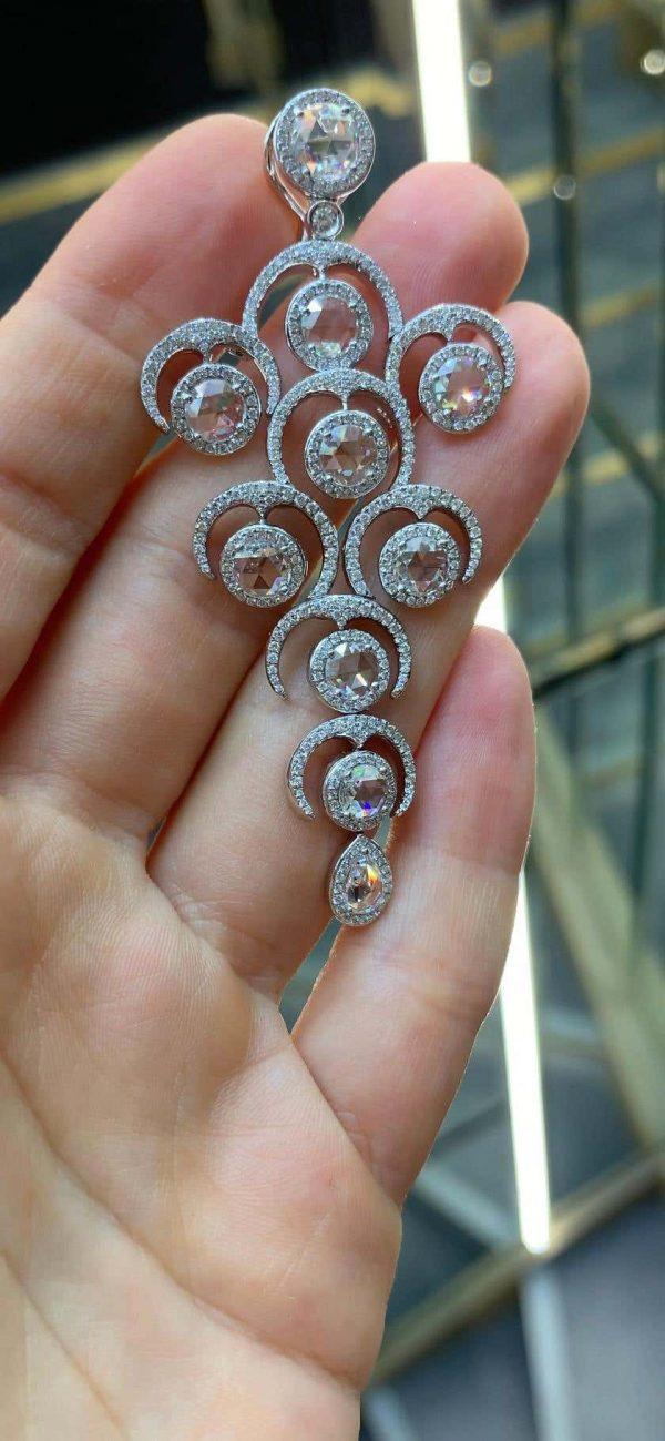 Rose Cut Diamond Grape Chandelier Drop Earrings, 9.20 carats, in 18ct white gold