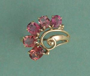 Vintage Pink Tourmaline and 18ct Yellow Gold Flower Ring, Circa 1950