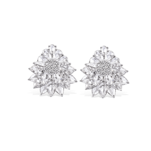 Rose Cut Diamond Floral Cluster Stud Earrings, 8.21 carats