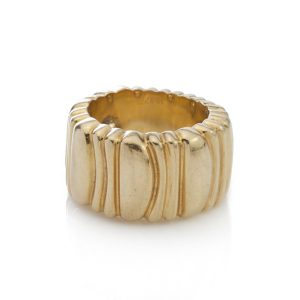 Cartier 18ct Yellow Gold Band Ring; with textured design. Signed and Numbered, Made in France 1992, Comes in original box