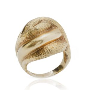Tiffany and Co Vintage 18ct Yellow Gold Domed Ring, with overlapping and alternated textured design, Made in Italy, Circa 1970s