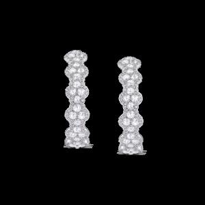 Rose Cut Diamond Hoop Earrings, 5 carats, 18ct White Gold