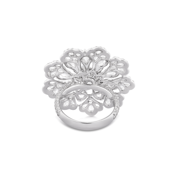 Diamond Flower Cluster Cocktail Ring; set with 54 pear shaped rose cut diamonds surrounded by round brilliant cut diamonds, 4.38 carat total