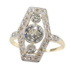 Antique Belle Epoque Diamond Engagement Ring, 18ct Yellow Gold and Platinum