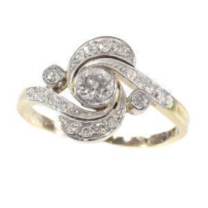 Antique Belle Epoque Old Brilliant Cut Diamond Engagement Ring