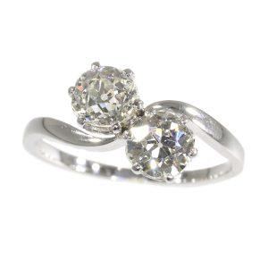 Vintage Romantic Toi Et Moi Diamond Engagement Ring