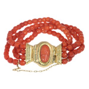 Antique Victorian Four String Coral Bracelet with Coral Cameo, 18ct Gold Closure