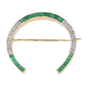 Antique Art Deco Diamond and Emerald Horseshoe Brooch