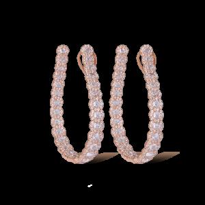 Rose Cut Diamond Hoop Earrings, 5.56 carats, in 18ct Rose Gold