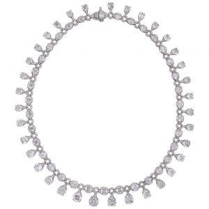 Old Mine Cut Diamond Fringe Necklace, 41.00 carat total