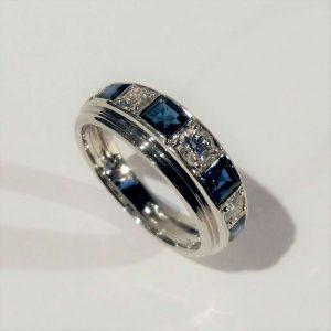 Princess Cut Sapphire and Old Cut Diamond Half Eternity Ring