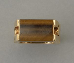Vintage French Tigers Eye and 18ct Yellow Gold Ring, Circa 1970