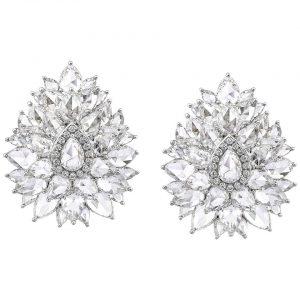Rose Cut Diamond Cluster Earrings, 14.28 carats