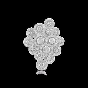 Contemporary Diamond Cluster Brooch, 3.82 carats