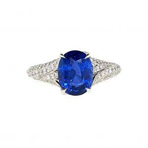 3.50ct Sapphire and Diamond Set Platinum Ring