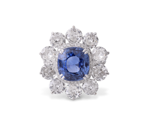 Cushion Cut Tanzanite and Diamond Floral Cluster Ring
