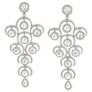 Rose Cut Diamond Grape Chandelier Drop Earrings, 9.20 carats