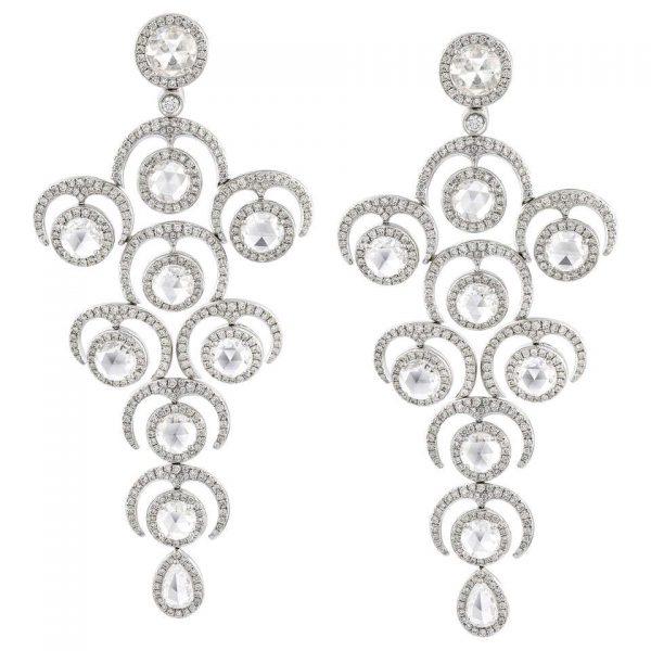 Rose Cut Diamond Grape Chandelier Drop Earrings; set with rose-cut and round brilliant-cut diamonds, 9.20 carat total. Diamonds are E/F colour VS/VVS clarity
