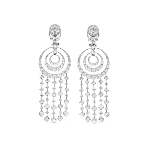 Rose Cut Diamond Spiral Drop Earrings, 10.86 carats