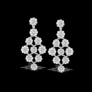 Rose Cut Diamond Floral Cluster Drop Earrings, 11.52 carats