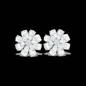 Rose Cut Diamond Floral Cluster Stud Earrings, 8.17 carats