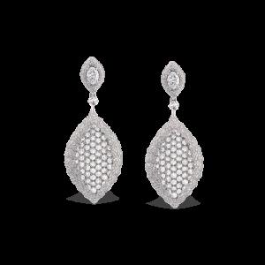Rose Cut Diamond Cluster Drop Earrings, 5.80 carats