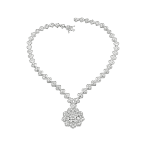 Statement Rose Cut Diamond Necklace with Cluster Pendant, 18.86 carats