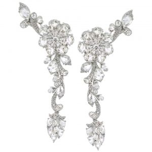 Rose Cut Diamond Floral Cluster Drop Earrings, 13.43 carats