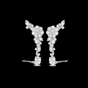 Rose Cut Diamond Floral Cluster Drop Earrings, 10.62 carats