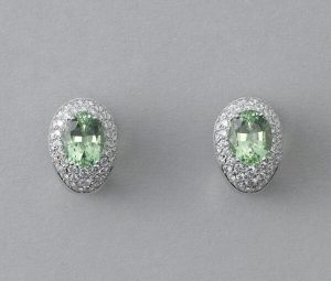 Contemporary Green Tourmaline and Diamond Cluster Stud Earrings