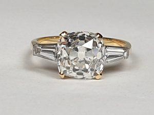 Antique 19th Century Cushion Cut 3.76ct Diamond Ring