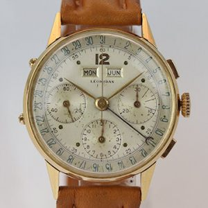 Vintage Leonidas Triple Calendar 18ct Yellow Gold Chronograph Watch