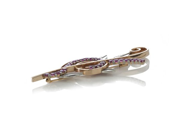 Tiffany and Co Vintage 1940s Ruby and Diamond Retro Floral Spray Brooch, in platinum and 14ct yellow gold