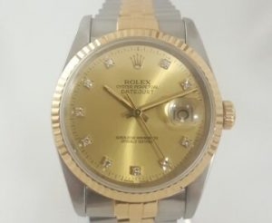 Rolex Datejust 36mm Steel and Gold with Original Diamond Dial and Box