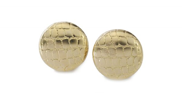 Tiffany and Co 18ct Yellow Gold Earrings; disc design bearing a geometric snakeskin pattern in relief. Made in USA, Circa 2000s. Comes in original box