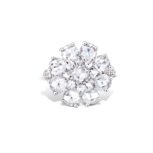 Rose Cut Diamond Blossom Flower Cluster Ring, 2.82 carats
