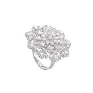 Diamond Flower Cluster Cocktail Ring, 4.38 carat total