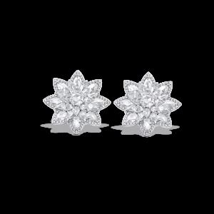 Rose Cut Diamond Daisy Flower Cluster Stud Earrings, 5.41 carats