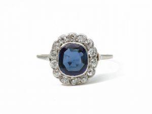 Antique Art Deco 14 Carat Sapphire Diamond Cluster Ring