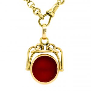 Antique Art Deco Carnelian Gold Swivel Fob Pendant