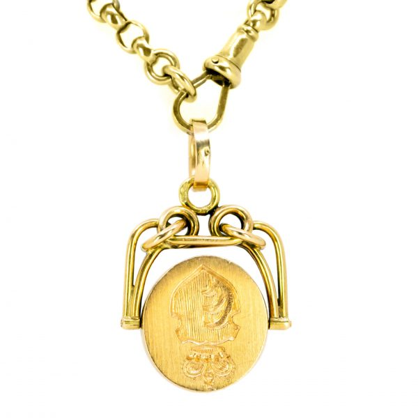 Antique Art Deco Carnelian Gold Swivel Fob Pendant