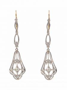 Antique Art Deco Diamond Set Drop Earrings