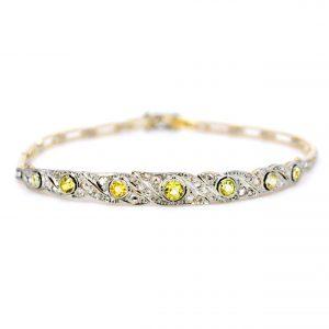 Antique Art Deco Yellow Sapphire and Diamond Bracelet