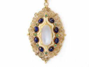 Antique Art Nouveau Moonstone Emerald Lapis Lazuli Pendant Necklace